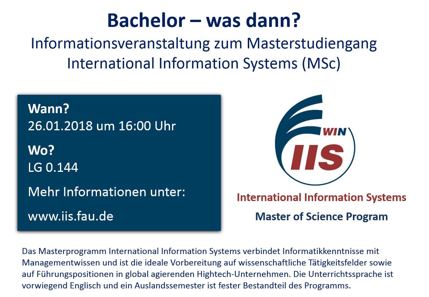 "Towards entry ""Info-Veranstaltung Master International Information Systems / Info-Event Master IIS"""
